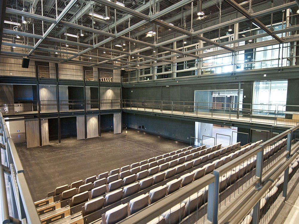 "The Rubenstein Arts Center's von der Heyden Studio Theater, where Hoof 'n' Horn performed ""Cabaret"" in Fall 2019. Hoof 'n' Horn is one of many student performance groups whose spring programming has been canceled due to the coronavirus pandemic."