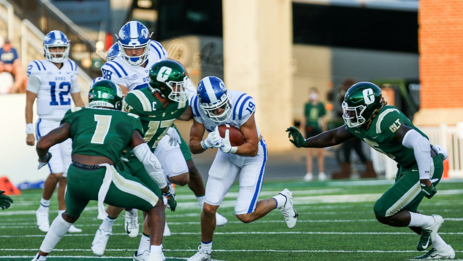 Senior wide receiver Jake Bobo leads the Blue Devils with 93.3 receiving yards per game.