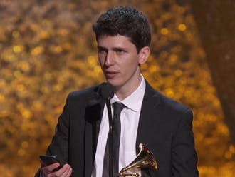 "Eric Oberstein accepted his third Grammy award for producing Dafnis Prieto's ""Back to the Sunset"" in Los Angeles Feb. 10."