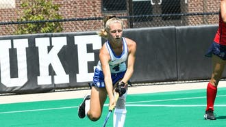 Senior Leah Crouse came straight from the airport to Duke's game against Richmond Sunday.