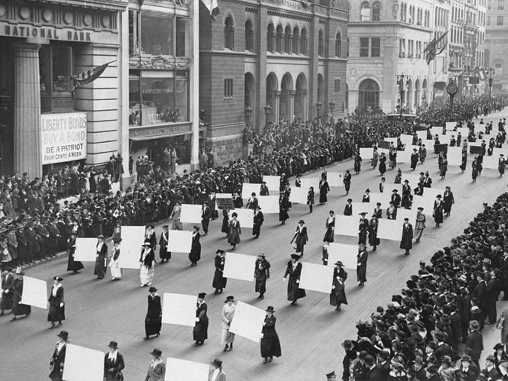 Suffragists parade down Fifth Avenue in 1917.