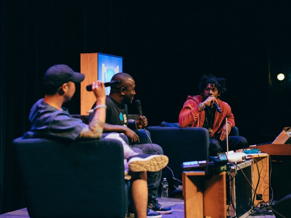From left to right, DJ Tony Trimm, comedian Hannibal Buress and producer Flying Lotus talked music and creativity at the Carolina Theatre May 20.