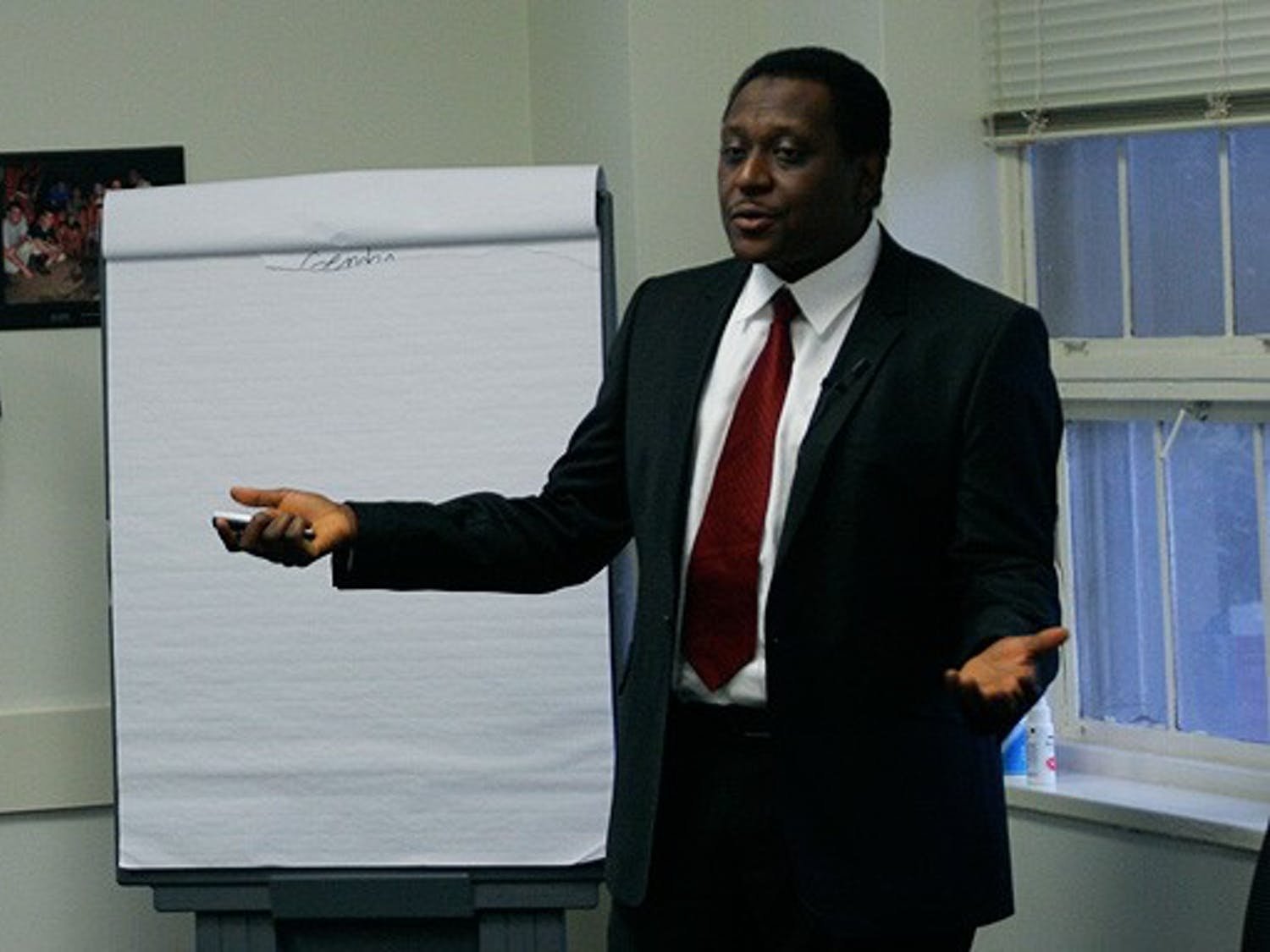 Muhammad Pate, executive director of the Nigeria National Primary Health Development Agency, speaks Wednesday on Nigeria's health system.