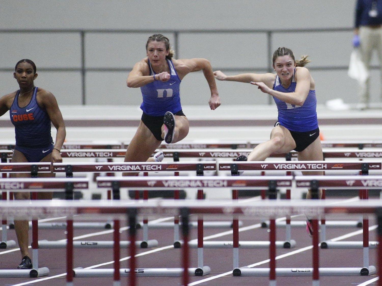 Senior Erin Marsh (middle) earned a bronze medal in the pentathlon in last week's NCAA Indoor Championships.