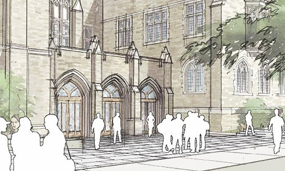 The final stage of renovations to Perkins Library, including a redesign of the main entrance as shown below, is scheduled to begin in 2013.