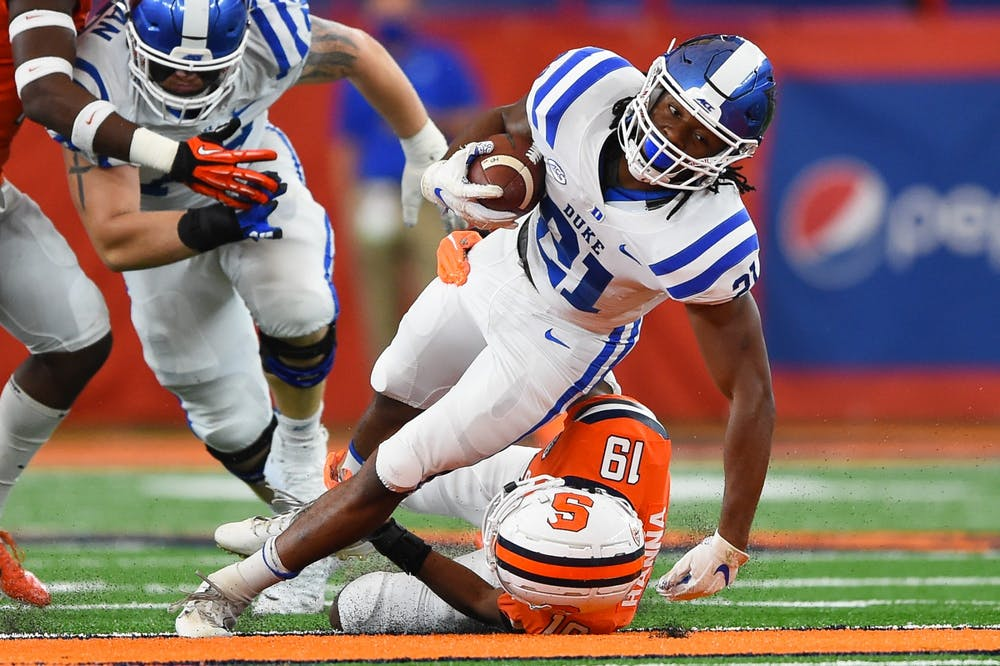 <p>Mateo Durant and the Duke rushing attack will need to get going in the second half against a tough Wolfpack defense.</p>