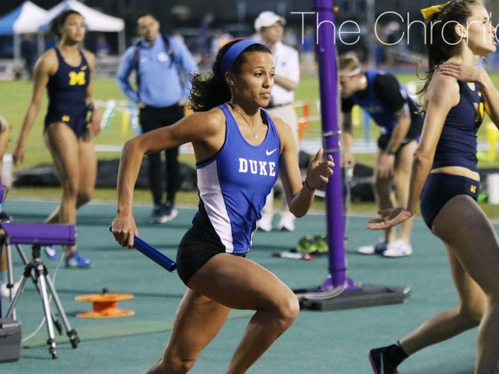 Madeline Kopp was part of Duke's 4-x-100-meter relay team that edged Wyoming by a hundredth of a second to take home first place.