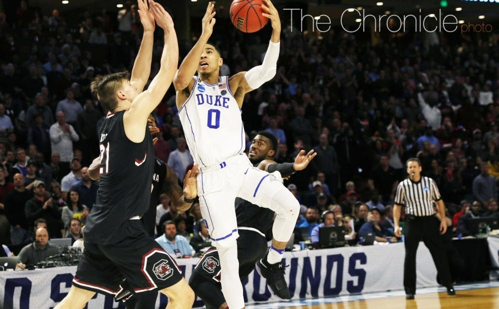 <p>A strong isolation scorer, Tatum figures to be a top-five pick in the NBA Draft.</p>
