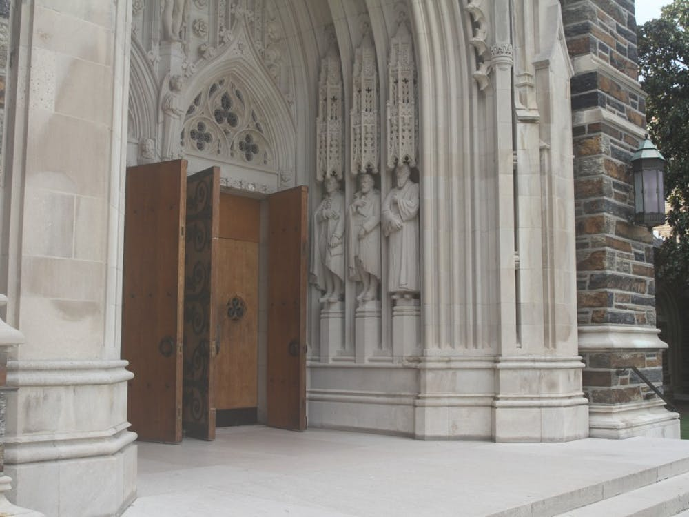 Lee's statue is located to the right of Duke Chapel's front doors.