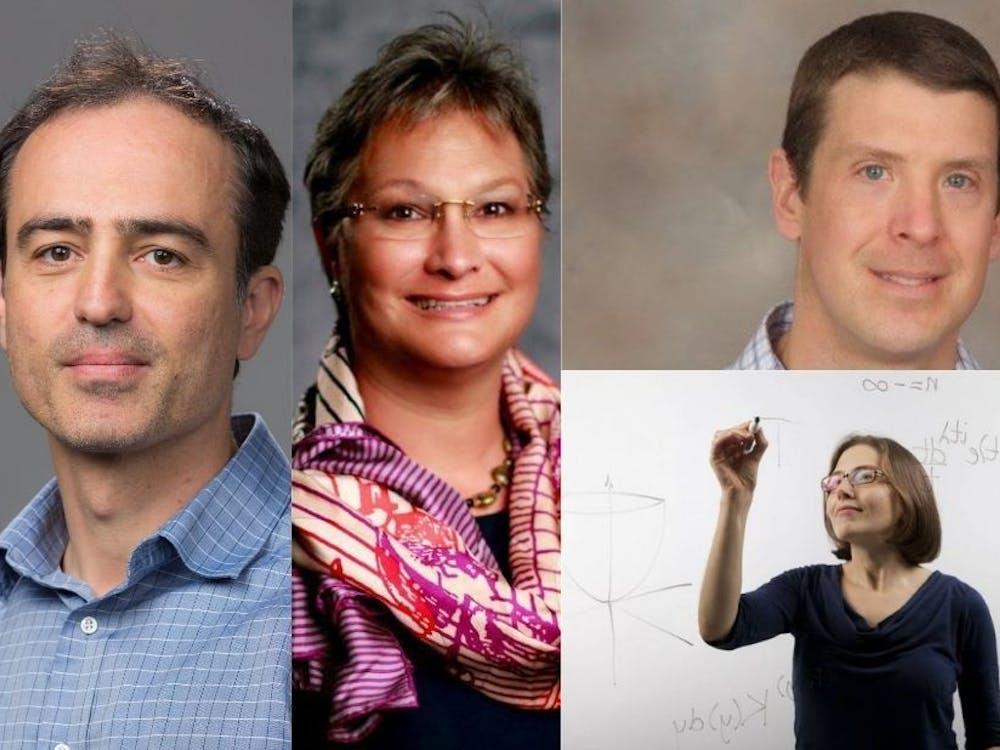 Duke's PECASE recipients clockwise from left: Nicolas Cassar, Tracey Yap, Michael Boyce, Lillian Pierce. Courtesy of Duke.