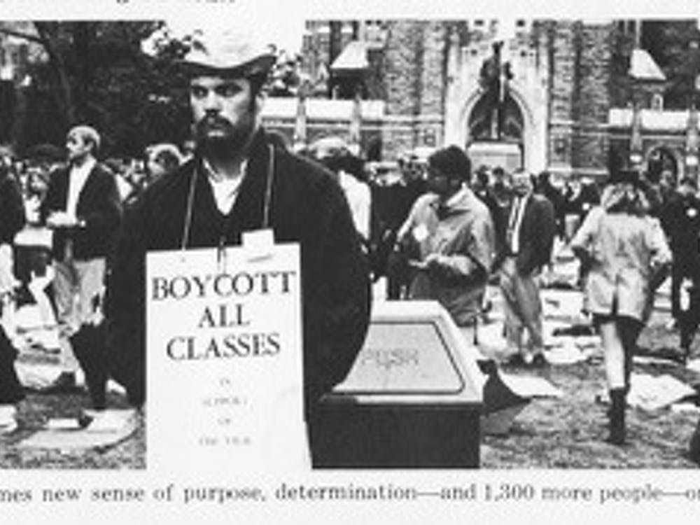 Following the assassination of Martin Luther King Jr., nearly 1500 students occupied the main quad in the silent vigil of April 1968.