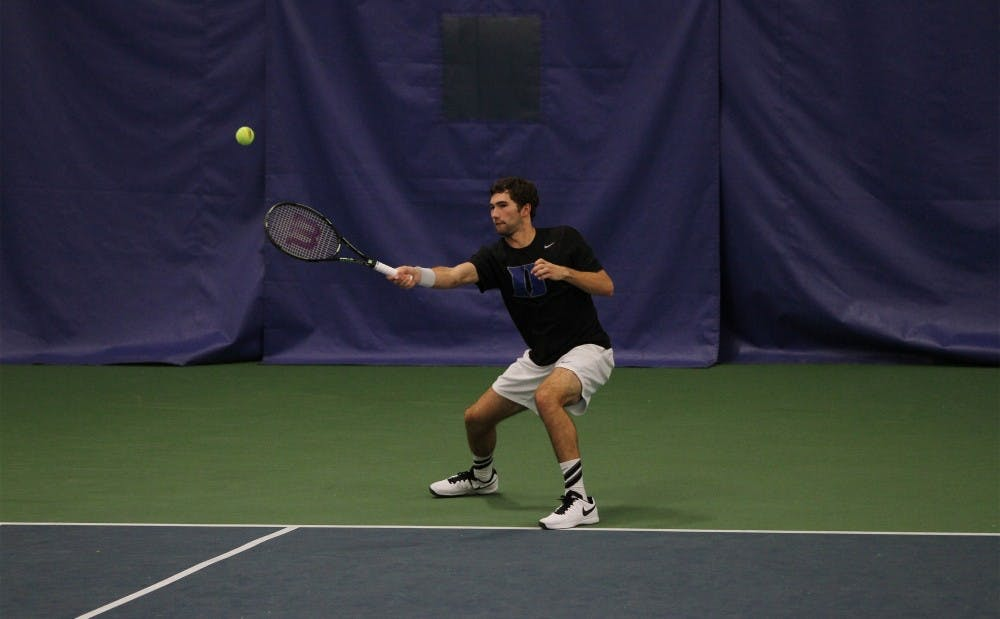 <p>Catalin Mateas recorded wins in singles and doubles Friday at N.C. State, improving his singles record to 14-7 on the year in his rookie campaign.</p>