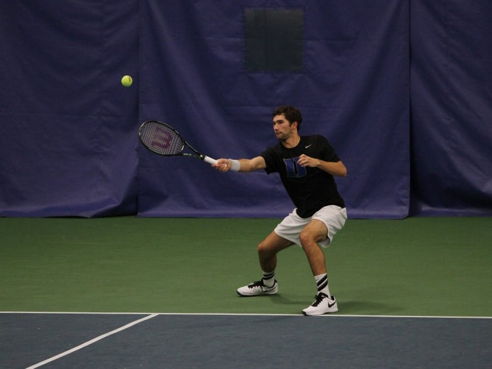 Catalin Mateas recorded wins in singles and doubles Friday at N.C. State, improving his singles record to 14-7 on the year in his rookie campaign.