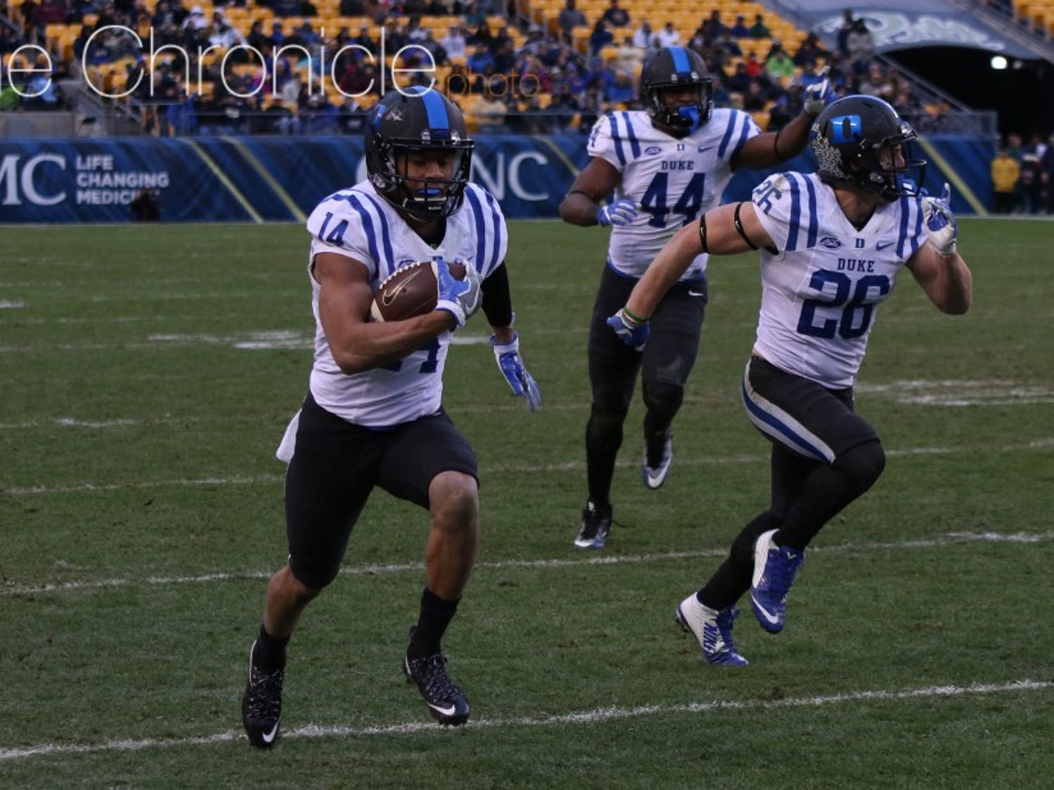 Senior Bryon Fields is the only experienced starter returning in Duke's secondary and returned an interception for a touchdown against Pittsburgh last season.