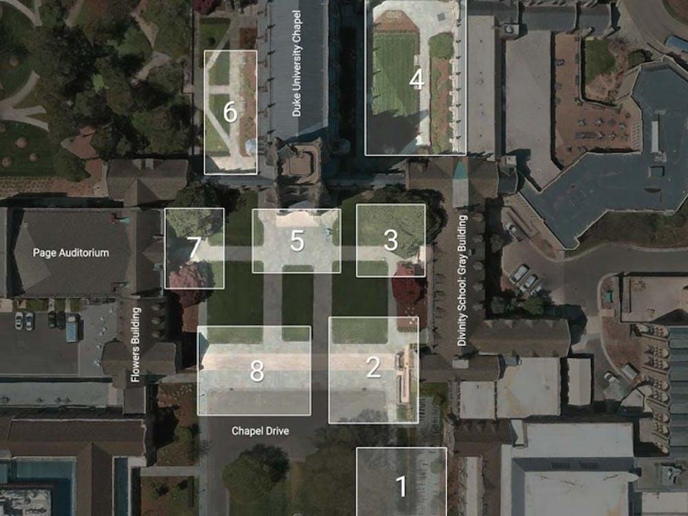 Where cameras were located in March 2014 for the DukeMTMC database study. Open Data Commons Attribution License. Courtesy of Megapixels. Source: Ergys Ristani, Francesco Solera, Roger Zou, Rita Cucchiara and Carlo Tomasi.