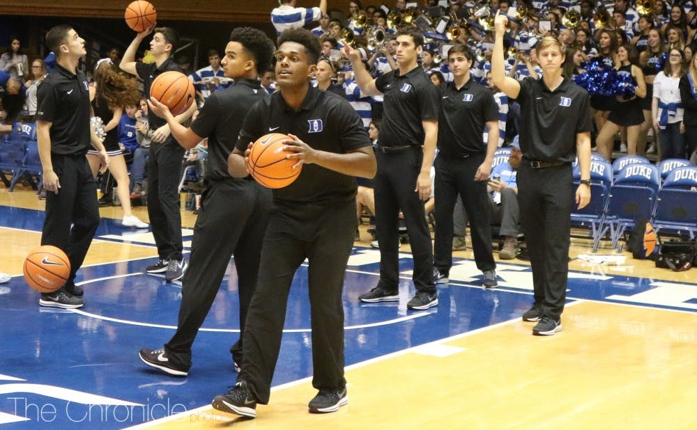 <p>The student managers for the 2017-18 men's basketball team are all male. The team has not hired a woman to a manager position since the fall of 2012.</p>