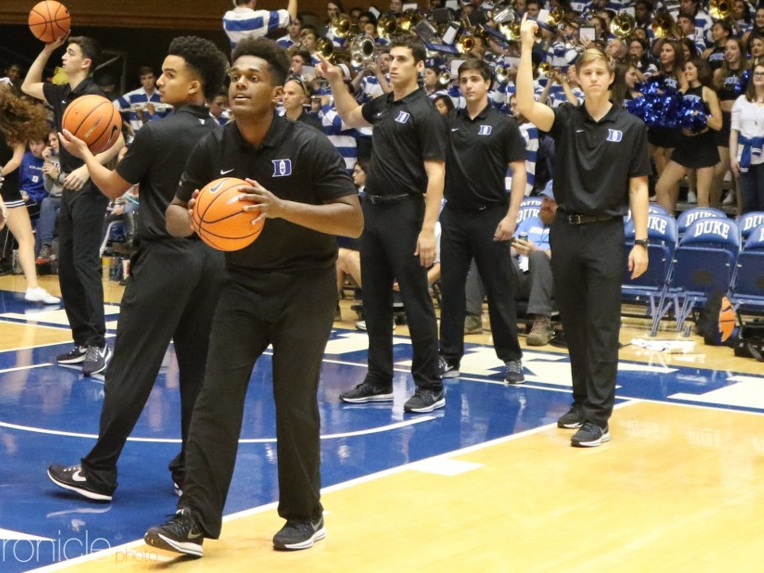 The student managers for the 2017-18 men's basketball team are all male. The team has not hired a woman to a manager position since the fall of 2012.