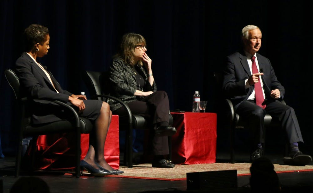 <p>President Richard Brodhead, Provost Sally Kornbluth and Valerie Ashby, dean of the Trinity College of Arts and Sciences, addressed students Friday.</p>