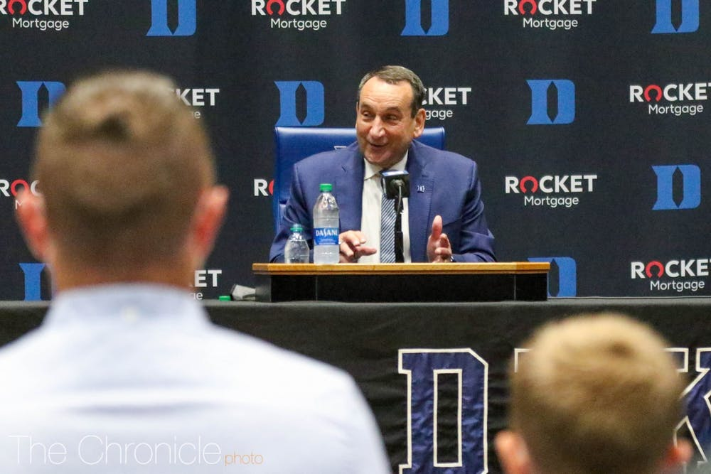 Coach K held his retirement press conference in Cameron Indoor Stadium Thursday.