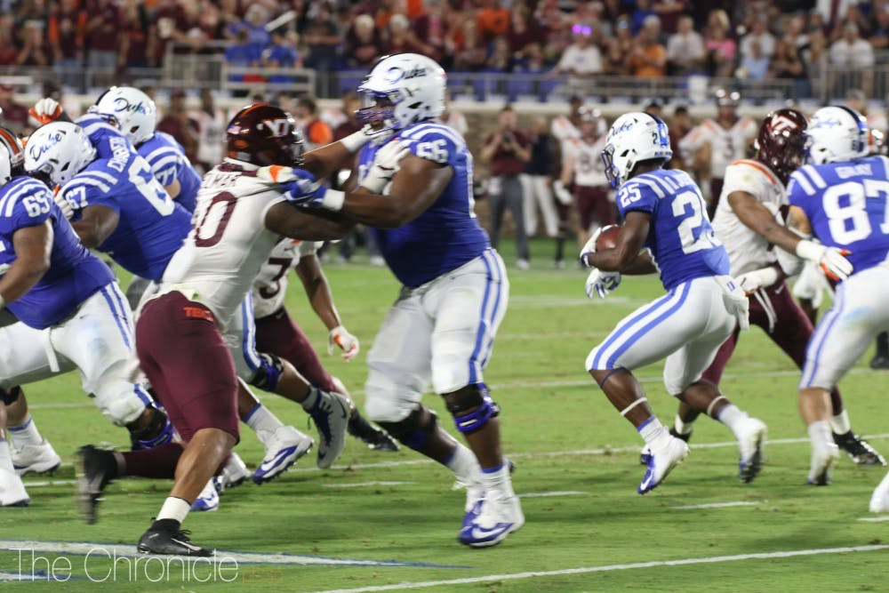 <p>Brittain Brown's 35 rushing yards were not enough to lift Duke over Virginia Tech.</p>