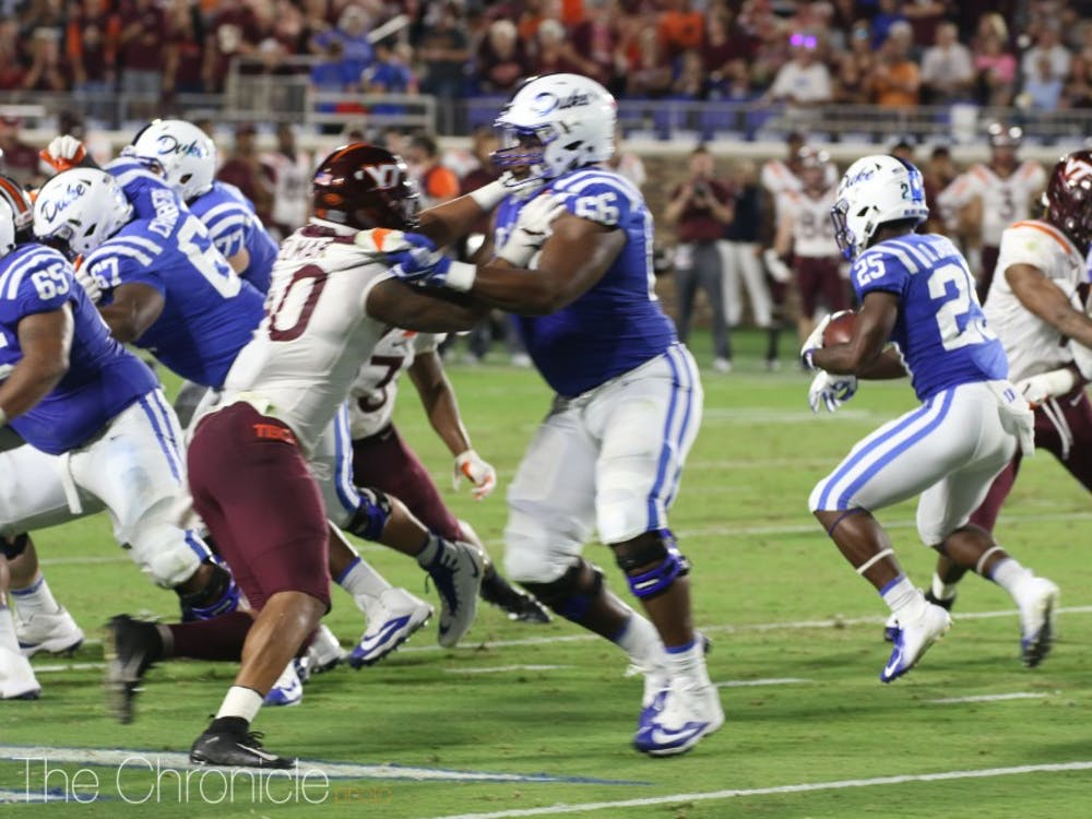 Brittain Brown's 35 rushing yards were not enough to lift Duke over Virginia Tech.