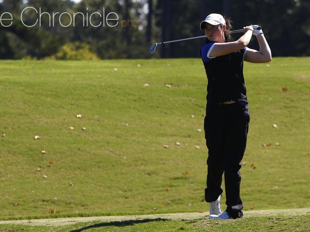 Leona Maguire led the Blue Devils to atie for fifth place in their first tournament of the spring season, carding two under-par rounds to finish tied for eighth at the Palos Verdes Golf Club in Palos Verdes, Calif.