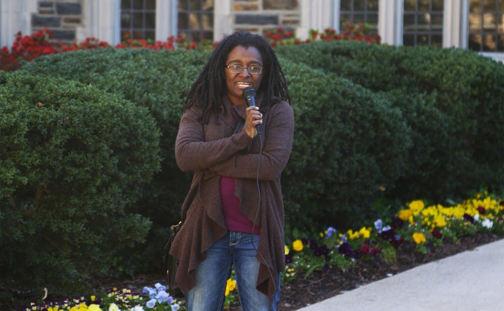 <p>Durham City Councilwoman Jillian Johnson, Trinity '03, spoke with students sitting in the Allen Building Sunday morning.</p>