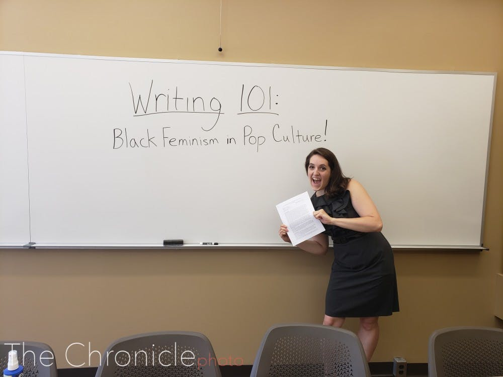 <p>Jessica Covil, the doctoral candidate teaching the Writing 101 course.</p>