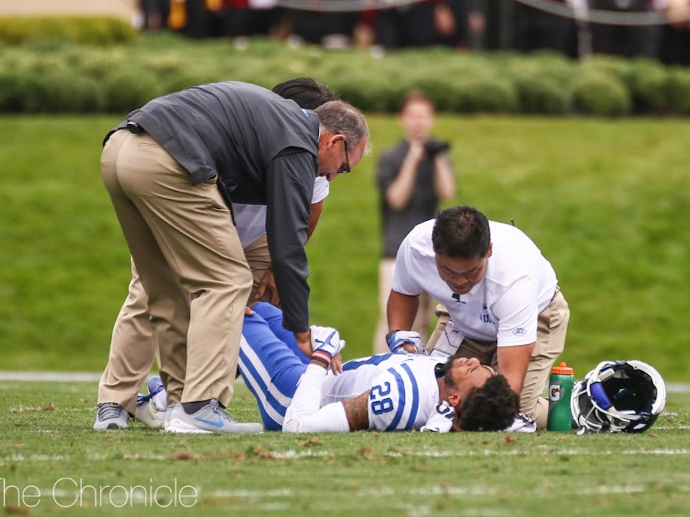 Mark Gilbert was forced to leave the game after suffering a hip injury Saturday.