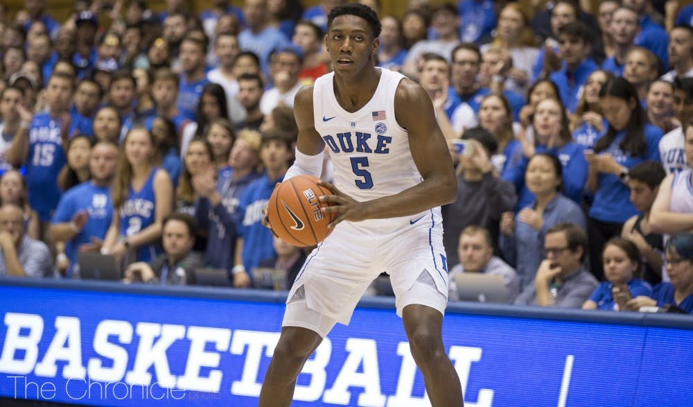 <p>R.J. Barrett has sparked the Blue Devils in both exhibition contests this preseason, leading the team with strong first-half performances in the exhibition matchups.</p>