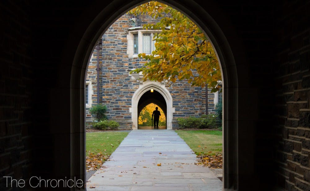 <p>Students enjoy the fall scenery on the way to class.</p>