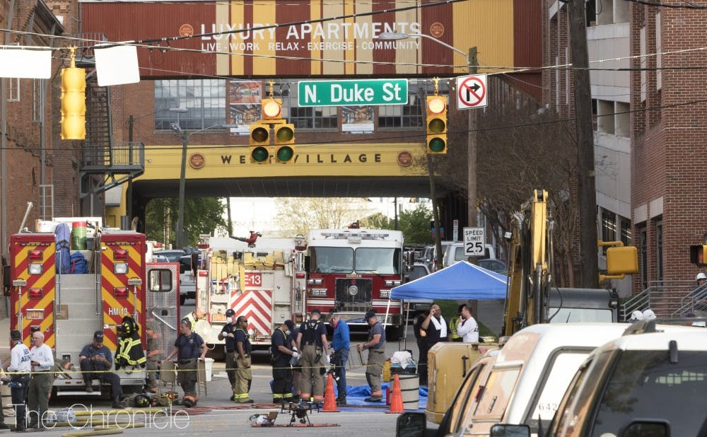 <p>The explosion site, which occurred in downtown Durham near West Village, was filled with responders working.&nbsp;</p>