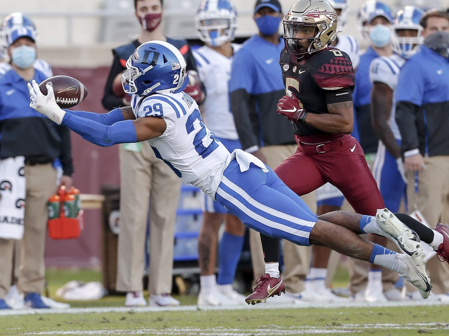 Despite two turnovers, including this diving interception, forced by safety Nate Thompson, Duke was unable to stop Florida State's offense from putting points on the board.