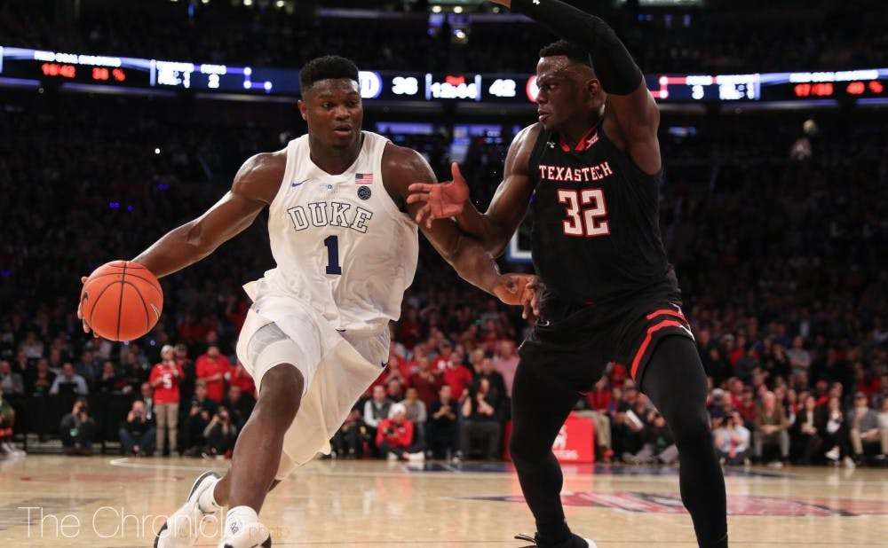 <p>Despite losing Tre Jones for the half to injury, Zion Williamson has been key in keeping Duke's offense moving against Syracuse.</p>