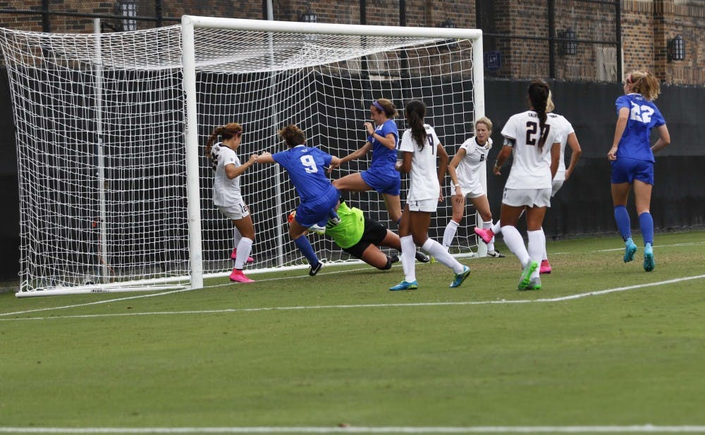 <p>Redshirt junior Danielle Duhl notched her first career goal off of a corner kick Sunday, but the Blue Devils could not add on as California held on for a 3-1 win.</p>