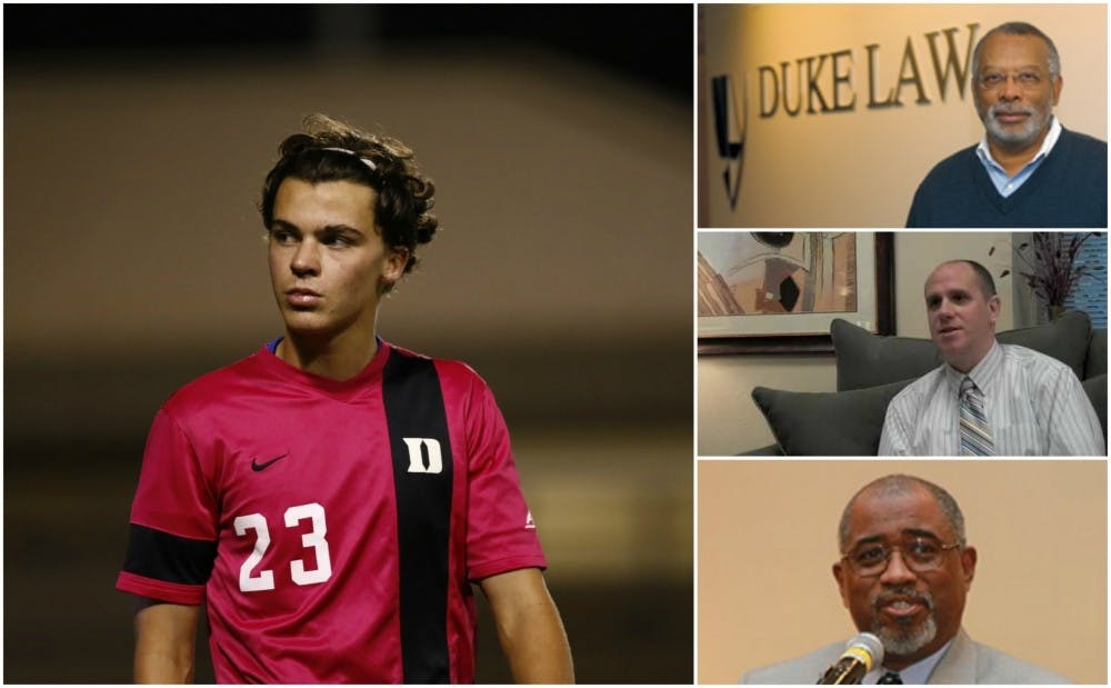 <p>Junior men's soccer player Ciaran McKenna (left) is suing Duke and&nbsp;Dean of Student Conduct Stephen Bryan (middle right) for mishandling his sexual&nbsp;assault hearings. Judge Orlando Hudson (bottom right)&nbsp;presided over the hearings. James Coleman, John S. Bradway professor of the practice of law, (top right) advised McKenna during the process.&nbsp;</p>