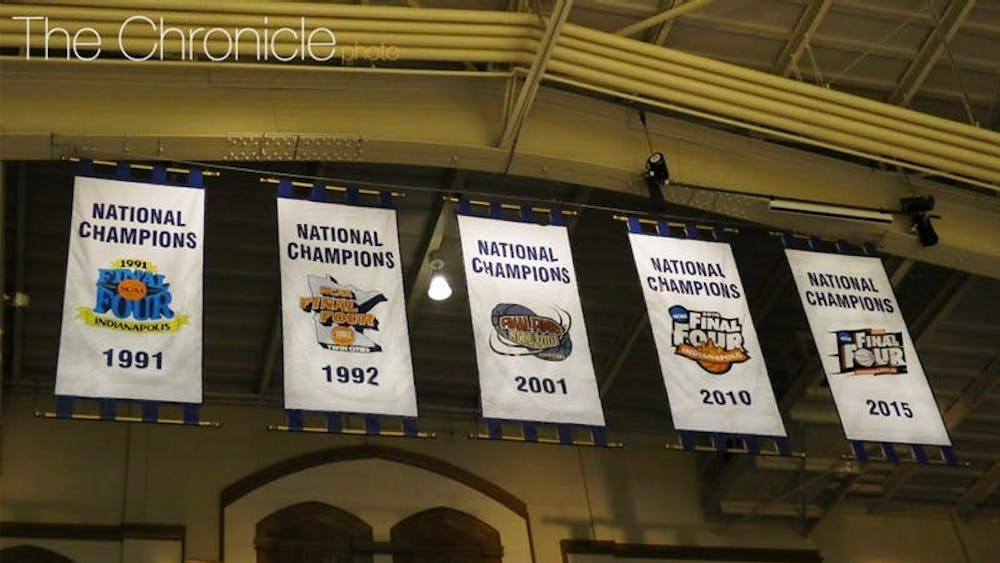 Duke's national championship banners have a new look.