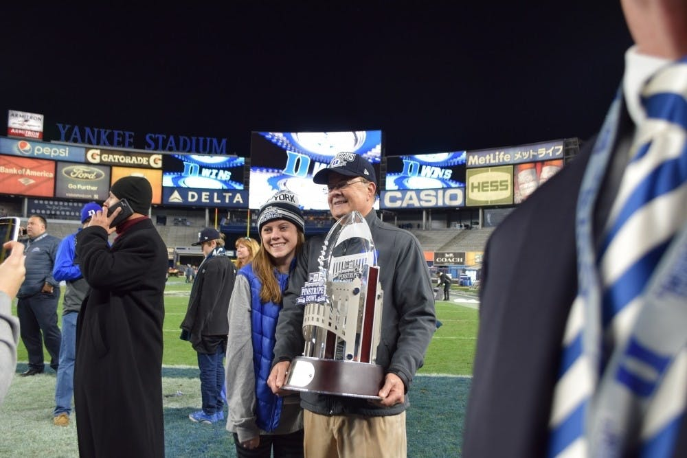 The Blue Devils' Pinstripe Bowl win was the program's first postseason win in more than five decades, ending a streak of five straight bowl defeats.