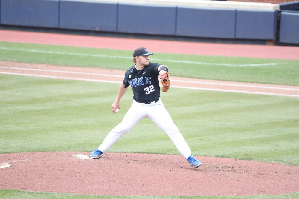<p>Duke's pitching staff, including junior Jack Carey, was inconsistent throughout the weekend slate against Virginia.</p>