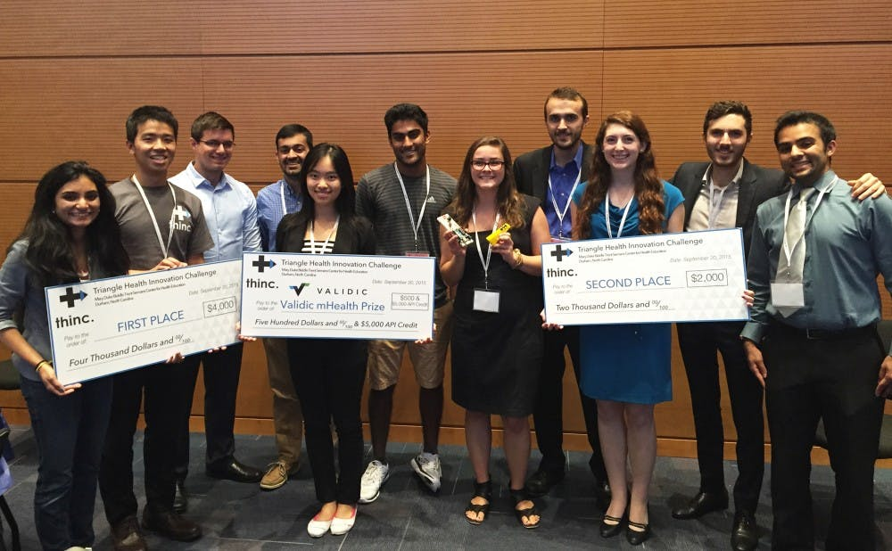 <p>Teams of students proposed solutions to global medical issues and competed for a $4,000 grand prize in the first Triangle Health Innovation Challenge.</p>