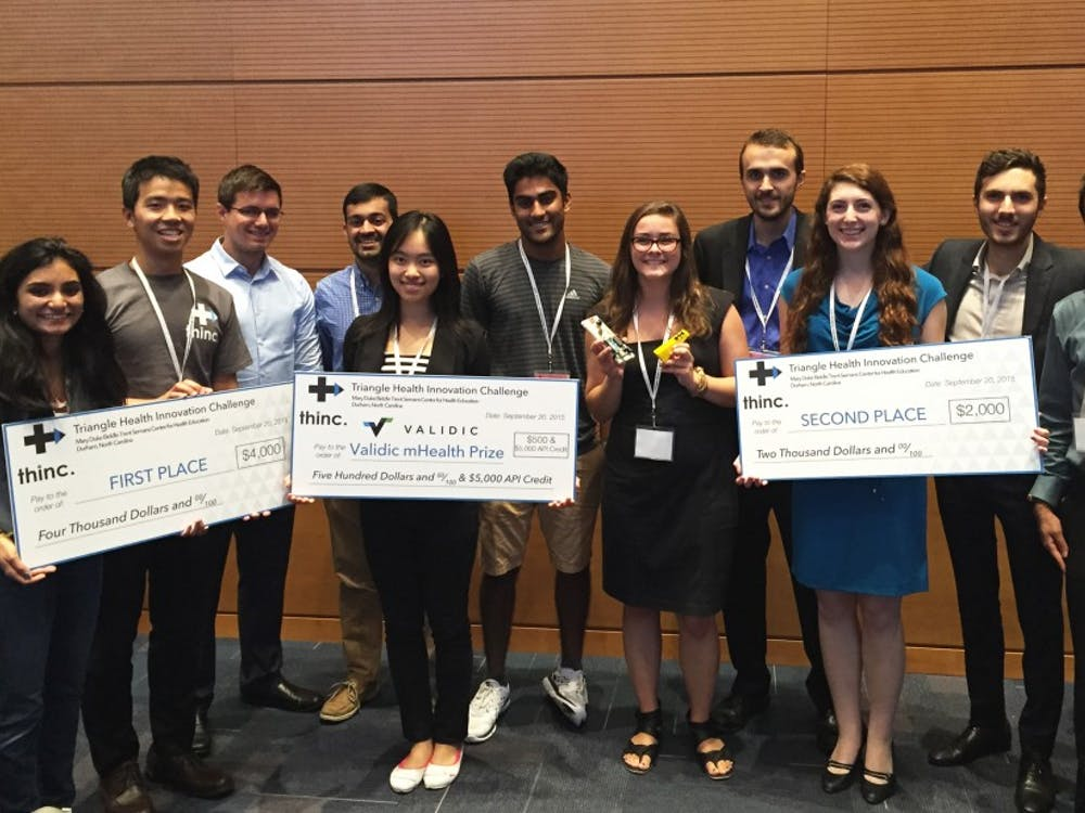 Teams of students proposed solutions to global medical issues and competed for a $4,000 grand prize in the first Triangle Health Innovation Challenge.