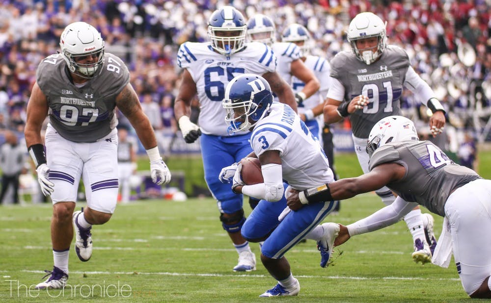 Wide receiver T.J. Rahming cashed in the Blue Devils' first score of the day, breaking through in the second quarter to tie the game.