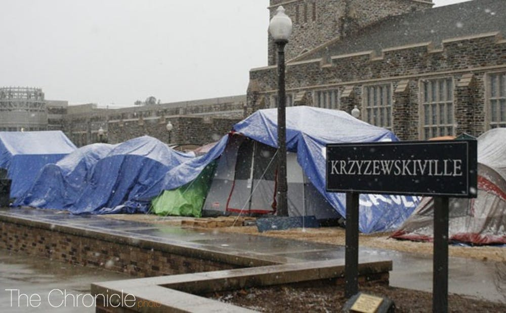 <p>Duke students will move into Krzyzewskiville Saturday for the start of black tenting.</p>