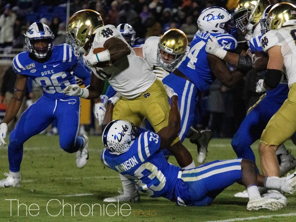 As the contest wore on, Duke struggled to stop the Notre Dame running game.