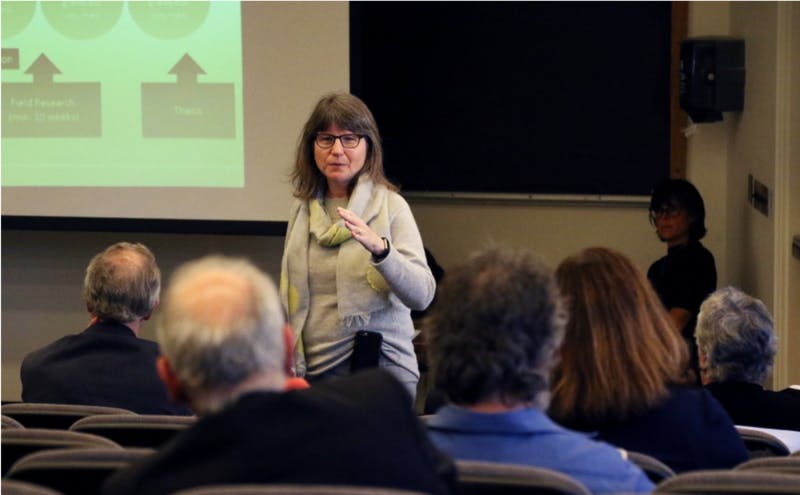 Provost Sally Kornbluth speaks at an Arts and Sciences Council meeting in 2017.