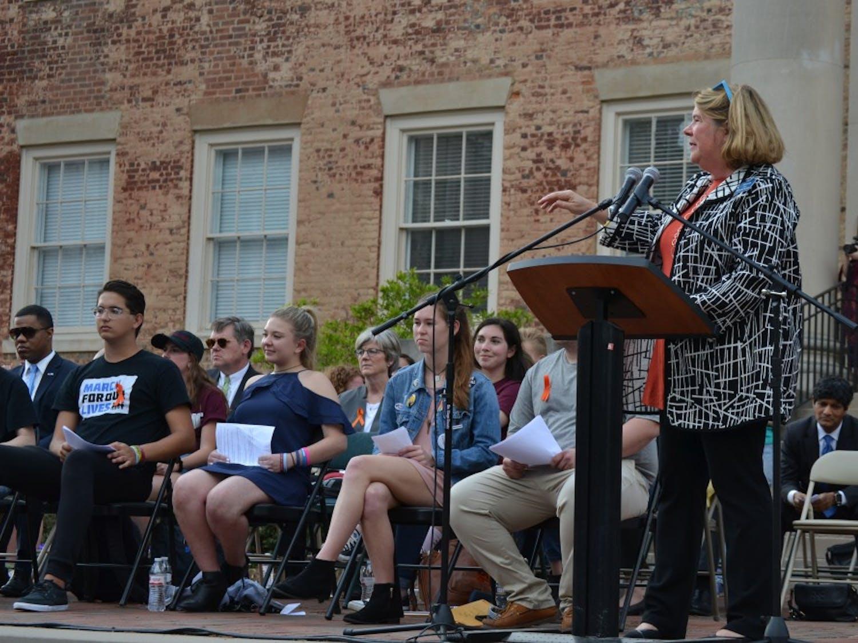 Chapel Hill Mayor Pam Hemminger speaks.