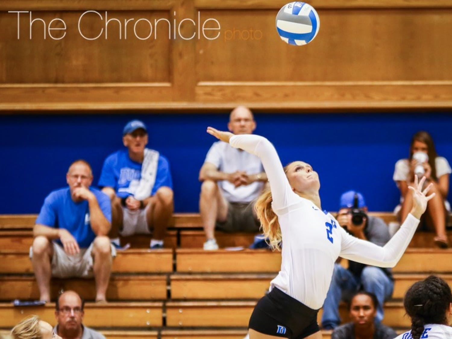 Sophomore Jessi Bartholomew paced the Blue Devils with 15 kills Saturday evening in a dramatic win at Virginia.