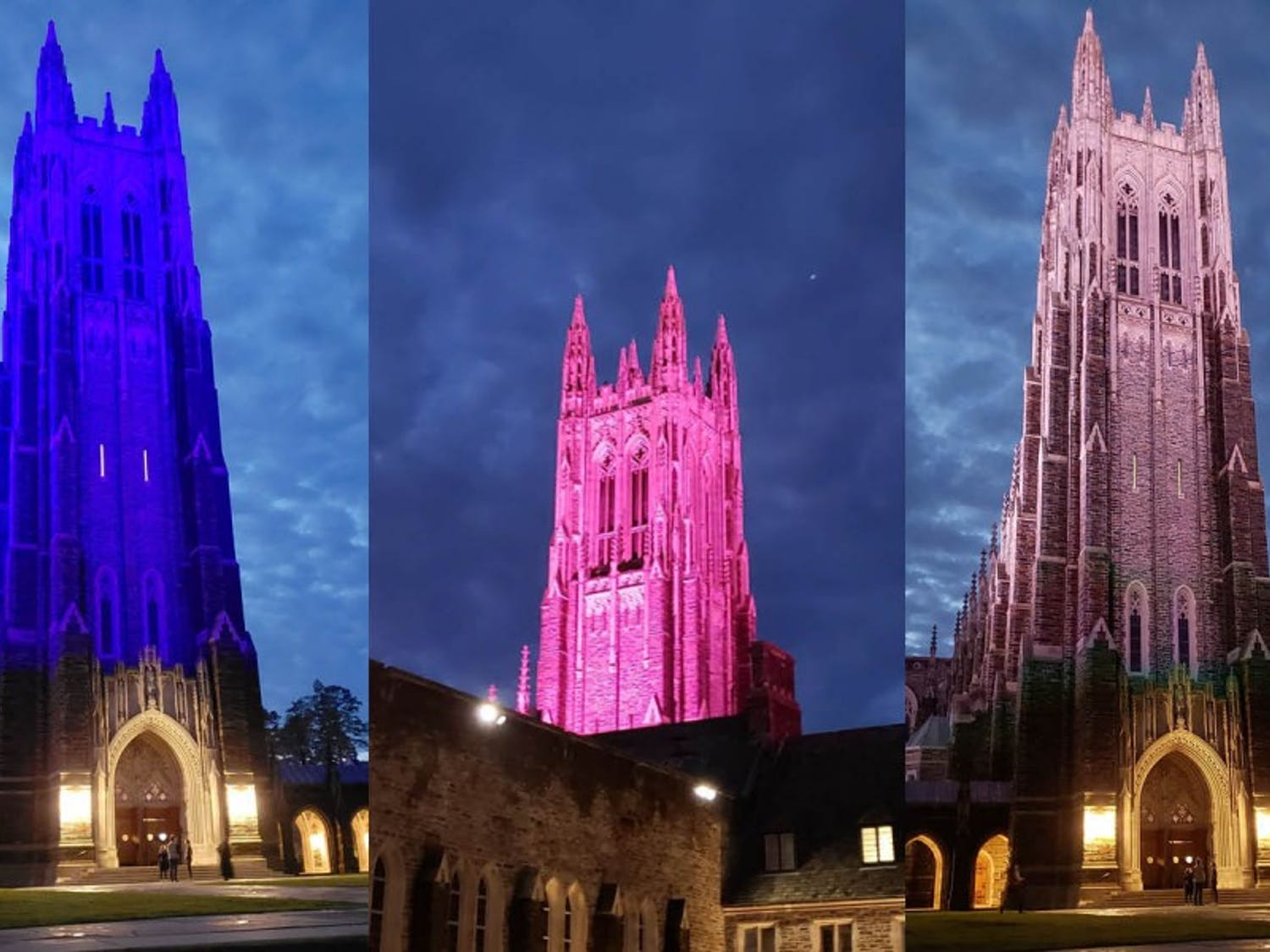On Feb. 21, the Chapel was illuminated in a variety of colors.