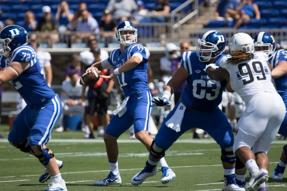 <p>Redshirt sophomore Daniel Jones totaled more than 400 yards in his best game as a starter.</p>