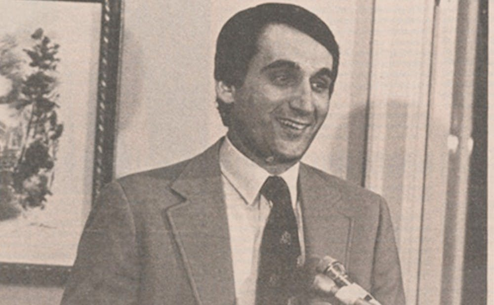 <p>Mike Krzyzewski was introduced as Duke's head coach on March 18, 1980.</p>